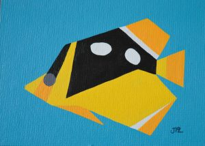 Fourspot Butterflyfish acrylic on 5x7 canvas panel 2016
