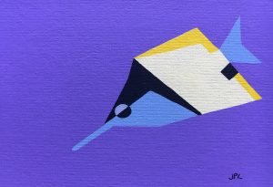 Big Longnose Butterflyfish acrylic on 5x7 canvas panel 2016