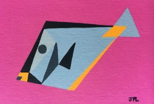 Orangespine Unicornfish acrylic on 5x7 canvas panel 2016