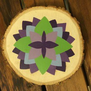 """Succulent Mandala acrylic on 3"""" pine wood round 2016"""