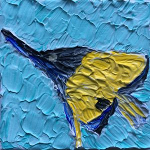 "Big Longnose Butterflyfish 2 acrylic on 3""x3"" canvas panel 2016"
